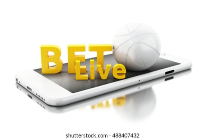 3d renderer image. Smartphone with basquet ball and bet live. Betting concept. Isolated white background.
