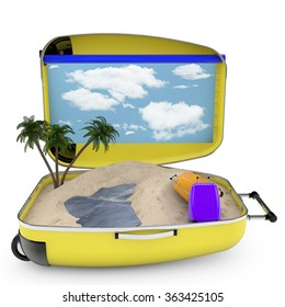 3d renderer image. travel suitcase. Beach vacation concept. Isolated white background