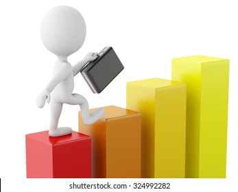 3d renderer image. White business people on a statistic graph. Success concept. Isolated white background