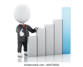 3d renderer image. White business people statistic graph. Success concept. Isolated white background