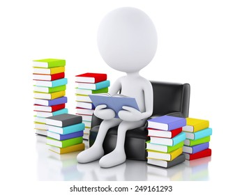 3d renderer image. White people reading a book. Isolated white background.
