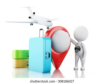 3d renderer image. White people tourist with travel suitcases and camera. Travel concept. Isolated white background.