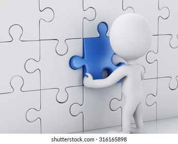 3d renderer image. White people assemble piece of a puzzle. Business concept.