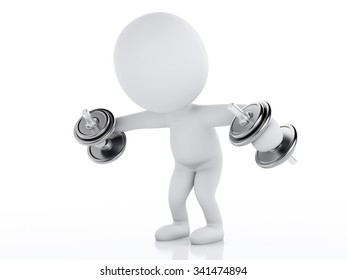 3d renderer image. White people with dumbbells. gym concept. Isolated white background