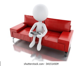 3d renderer image. White people playing video games on sofa. Technology concept  Isolated white background