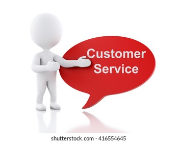 3d renderer image. White people with speech bubble that says Customer Service. Business concept. Isolated white background.