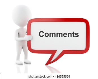 3d renderer image. White people with speech bubble that says Comments. Communication concept. Isolated white background.