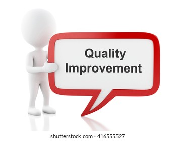 3d renderer image. White people with speech bubble that says Quality Improvement. Business concept. Isolated white background.