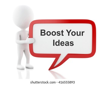 3d renderer image. White people with speech bubble that says Boost Your Ideas. Business concept. Isolated white background.