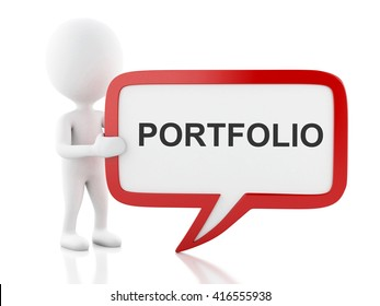 3d renderer image. White people with speech bubble that says portfolio . Business concept. Isolated white background.