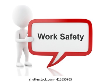3d renderer image. White people with speech bubble that says Work Safety. Business concept. Isolated white background.