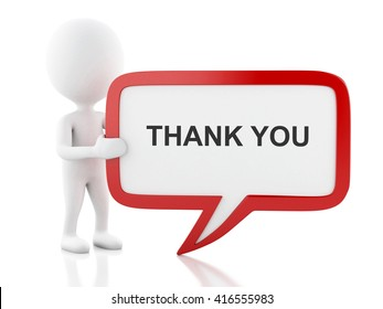 3d renderer image. White people with speech bubble that says thank you . Business concept. Isolated white background.
