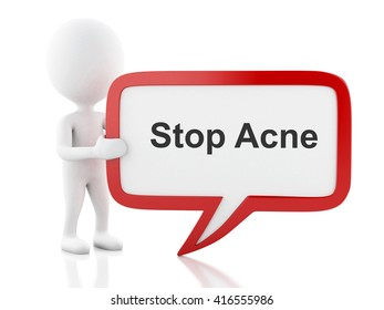 3d renderer image. White people with speech bubble that says Stop Acne. Isolated white background.