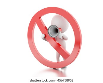3d renderer image. White people with megaphone surrounded by a forbidden sign. Isolated white background.