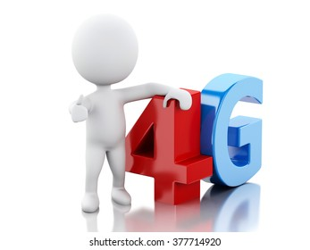 3d renderer image. White peple with smart phone and 4G sign. Communication technology concept. Isolated white background