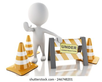 3d renderer imagen. White people stop sign with traffic cones.  Under construction concept.. Isolated white background.