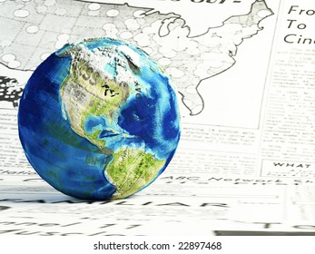 3d render.Global news concept.  earth globe made of differents newspapers on a newspaper page.