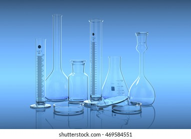 3D render,illustration.Glassware in laboratory on the blue background gradient.