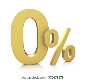 3D rendering of a 0 percent in gold letters on a white background in the design of the information associated with the percent
