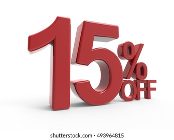 3d rendering of a 15% off symbol, isolated on white background, left leaning