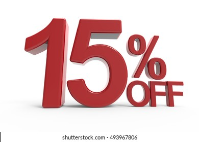 3d rendering of a 15% off symbol, isolated on white background,