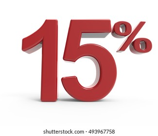 3d rendering of a 15% symbol, isolated on white background