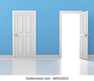 3d rendering of 2 doors, one open and one closed