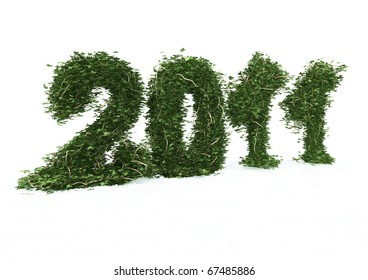 3d rendering of 2011 date made of ivy isolated on white background