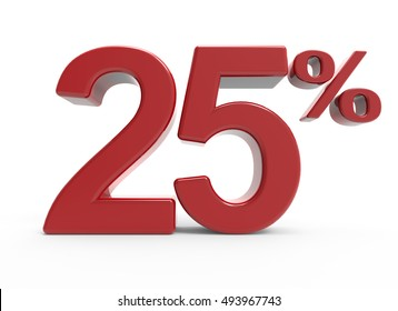 3d rendering of a 25% symbol, isolated on white background