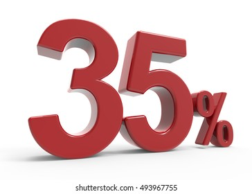 3d rendering of a 35% symbol, isolated on white background, left leaning