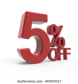 3d rendering of a 5% off symbol, isolated on white background, left leaning
