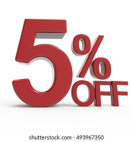 3d rendering of a 5% off symbol, isolated on white background,