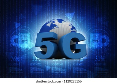 3d rendering 5G Network 5G Connection navigation with world map