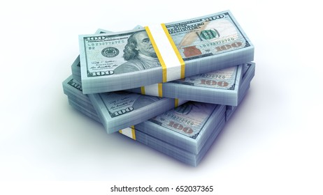3d rendering 7 pack of US dollars in high quality