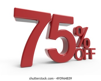 3d rendering of a 75% off symbol, isolated on white background, left leaning