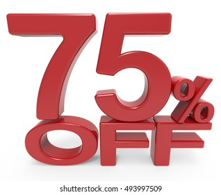 3d rendering of a 75% off symbol, isolated on white background,