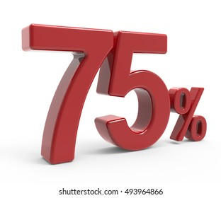 3d rendering of a 75% symbol, isolated on white background, left leaning
