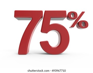 3d rendering of a 75% symbol, isolated on white background