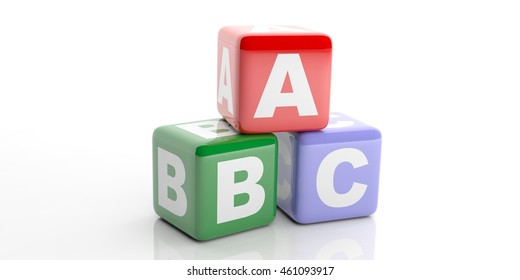 3d rendering abc colored cubes on white background