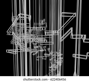 3D rendering abstract architecture wire frame