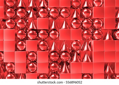 3d rendering abstract background with metallic geometric shapes. Primitives form repeatable background with shiny reflections.
