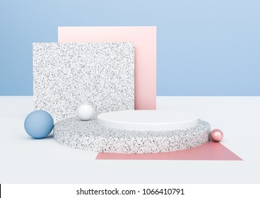 3d rendering abstract composition. Geometric shapes on white background for product presentation or mockup. Minimalistic design with empty space.
