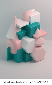 3d rendering. Abstract composition of geometric bodies the intersection of simple shapes: cube, sphere, cone, pyramid, prism. Colorful group of primitive objects on white background.