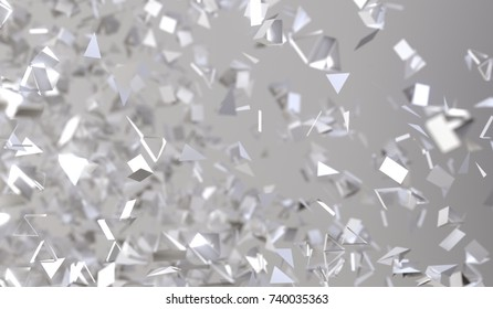 3D Rendering Of Abstract Flying Chaotic Particles On Grey Background
