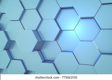 3d rendering of abstract hexagon background