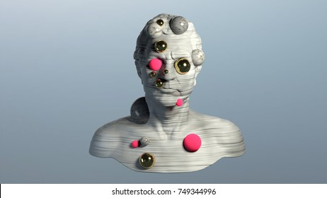 3d rendering of abstract human torso, with horizontal striped texture and spheres pop out randomly. Destructed bust sculpture on blue background, modern art.