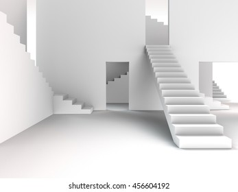 3D rendering of an abstract interior architecture with stairways