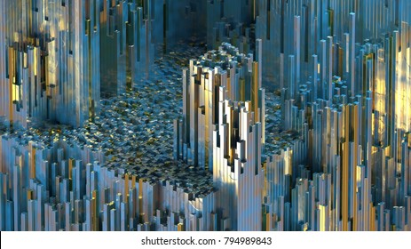 3D rendering abstract mountains of metal cubes. Boxes randomly scattering on terraine. Modern generative illustration. Blue and gold reflections. Graph array of data.