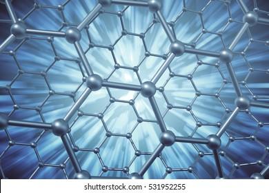 3d rendering abstract nanotechnology hexagonal geometric form close-up, concept graphene molecular structure