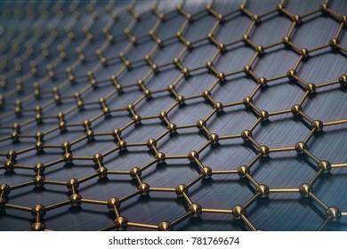 3d rendering abstract nanotechnology hexagonal geometric form close-up, concept graphene atomic structure, concept graphene molecular structure